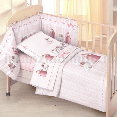 ANNE GEDDES SET LENZUOLA LETTINO PINK BUNNIES - LENZUOLA BAMBINI ...